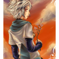 A manga cat boy drawn in Corel Painter waiting for a friend with a cherry blossom twig.