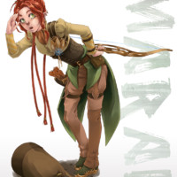 An archer manga character for a tutorial in the book 'Draw Manga' created in Corel Painter.