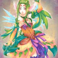 A dancing manga character designed for Letraset's 'Promarker Fantasy Set'.