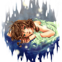 A manga girl floating in water, coloured in Corel Painter.