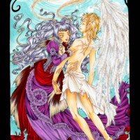 A fantasy image displaying a human moth and an angel coloured with markers.