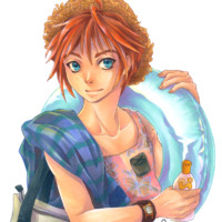 A manga boy with his swim ring going to the beach, coloured with markers.