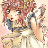 A cute baking manga character drawn with a ballpoint pen and coloured in Corel Painter.