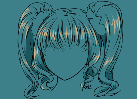 A tutorial, which focuses on highlights in manga hair.