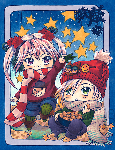 A tutorial on colouring a Christmas chibi card with markers.