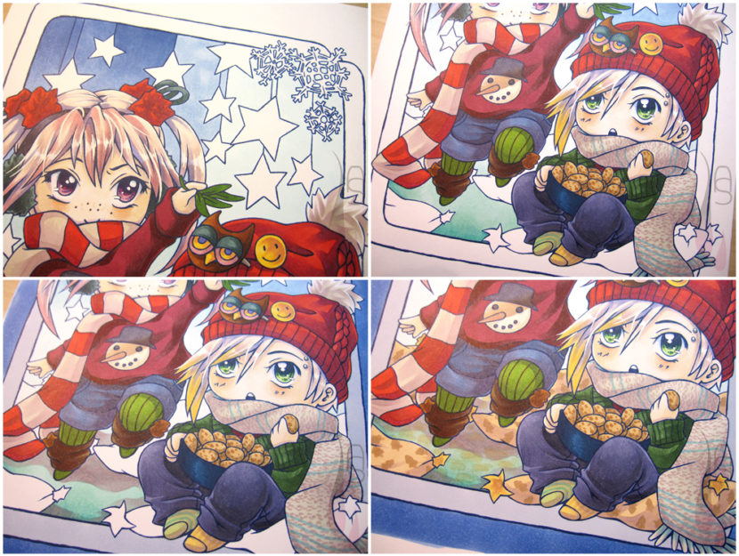 A tutorial on colouring a Christmas chibi card with markers