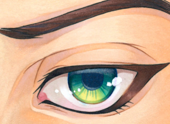 A tutorial on how to colour manga eyes with markers.