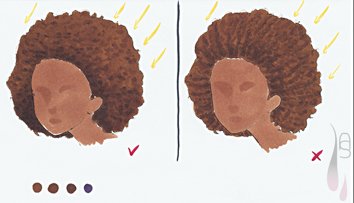 A tutorial on how to colour curly afro hair with markers.