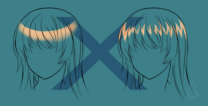 A tutorial on how to create highlights in manga hair.