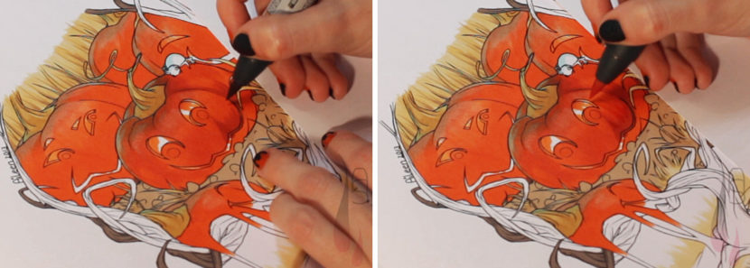 A tutorial on colouring Halloween themed pumpkins with markers.