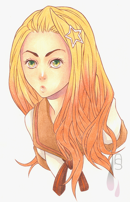 A tutorial on how to colour shiny manga hair with markers.