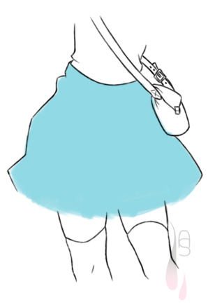 A tutorial on drawing a pleated skirt.