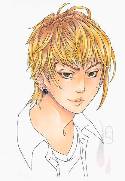 A tutorial on how to colour short manga hair with markers.